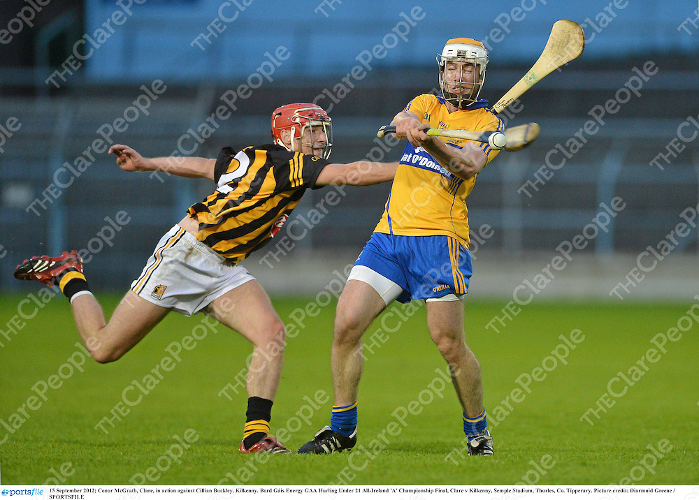 15 September 2012; Conor McGrath, Clare, in action against Cillian Buckley, Kilkenny. Bord Gáis Energy GAA Hurling Under 21 All-Ireland 'A' Championship Final, Clare v Kilkenny, Semple Stadium, Thurles, Co. Tipperary. Picture credit: Diarmuid Greene / SPORTSFILE