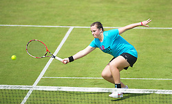 LIVERPOOL, ENGLAND - Wednesday, June 20, 2012: Chloe Murphy (GBR) plays an exhibition women's doubles match during a kids' day at the Medicash Liverpool International Tennis Tournament at Calderstones Park. (Pic by David Rawcliffe/Propaganda)