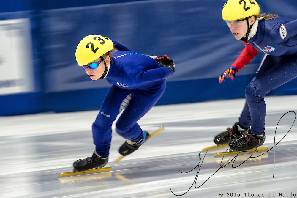 March 20, 2016 - Verona, WI - Renee Miller, skater number 234 competes in US Speedskating Short Track Age Group Nationals and AmCup Final held at the Verona Ice Arena.