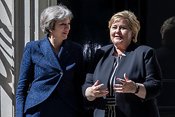 © Licensed to London News Pictures. 06/06/2018. London, UK. Prime Minister Theresa May meets Prime Minister of Norway Erna Solberg on Downing Street. Photo credit: Rob Pinney/LNP