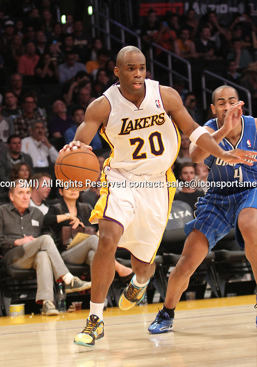 Sunday March 23, 2041; Jodie Meeks #20 of the Lakers during the game. The Los Angeles Lakers defeated the Orlando Magic by the final score of 103-94 at Staples Center in downtow Los Angeles CA.