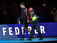 Tennis - 2019 Nitto ATP Finals at The O2 - Day Five<br /> <br /> Singles Group Bjorn Borg: Novak Djokovic (Serbia) vs. Roger Federer (Switzland)<br /> <br /> Fans welcome Roger Federer onto the court<br /> <br /> COLORSPORT/ASHLEY WESTERN
