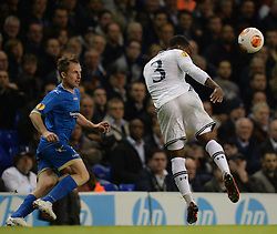 19.09.2013, White Hart Lane, London, ENG, UEFA Champions League, Tottenham Hotspur vs Toromsoe IL, Gruppe K, im Bild Tottenham's Danny Rose  heads the ball during UEFA Champions League group K match between Tottenham Hotspur vs Toromsoe IL at the White Hart Lane, London, United Kingdom on 2013/09/19 . EXPA Pictures © 2013, PhotoCredit: EXPA/ Mitchell Gunn <br /> <br /> ***** ATTENTION - OUT OF GBR *****