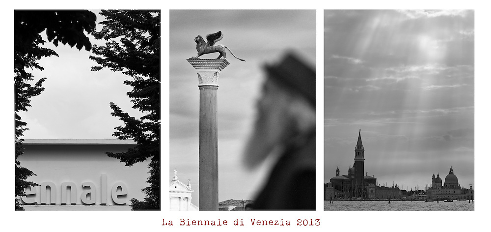Black and white photo of graphic designer Goddur at Piazza San Marco during Biennale <br />