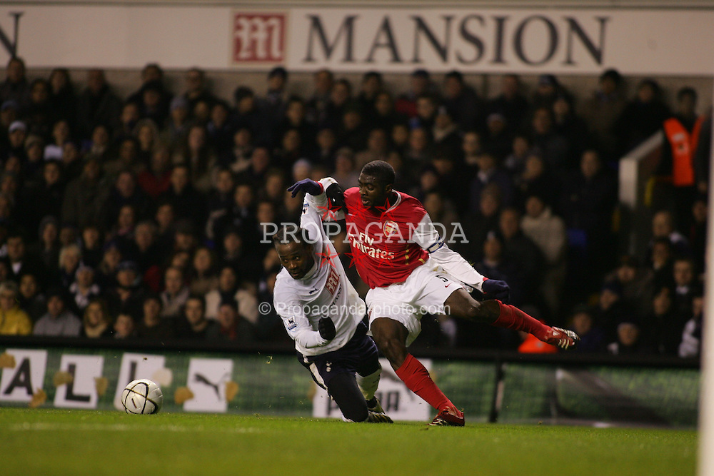 London, England - Wednesday, January 24, 2007: Arsenal's Kolo Toure and Tottenham Hotspur's Didier Zakora during the League Cup Semi-Final 1st Leg at White Hart Lane. (Pic by Chris Ratcliffe/Propaganda)