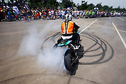 Stunt rider from Georgia on GSXR-1000 at Biker Boyz show in Tulsa, Oklahoma