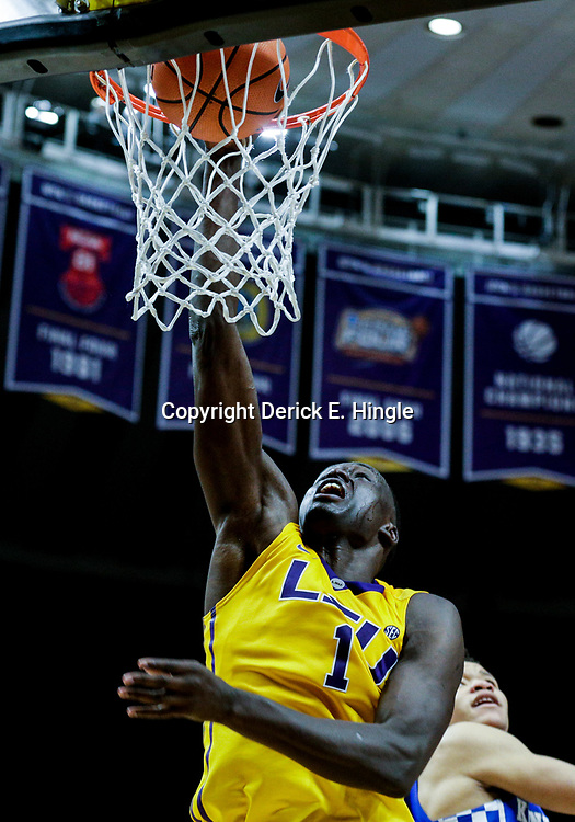 Jan 3, 2018; Baton Rouge, LA, USA; LSU Tigers forward Duop Reath (1) dunks against the Kentucky Wildcats during the second half at the Pete Maravich Assembly Center. Kentucky defeated LSU 74-71.  Mandatory Credit: Derick E. Hingle-USA TODAY Sports