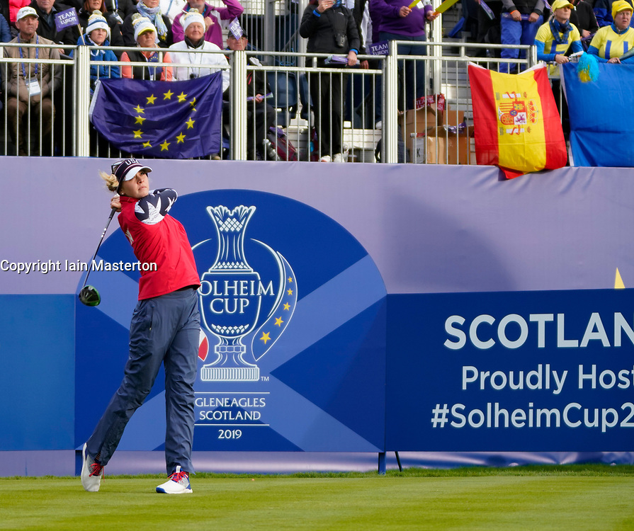 Auchterarder, Scotland, UK. 14 September 2019. Saturday morning Foresomes matches  at 2019 Solheim Cup on Centenary Course at Gleneagles. Pictured; Jessica Korda of Team USa drive on the 1st hole. Iain Masterton/Alamy Live News