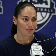 United States Guard Sue Bird (6) addresses the media about her commemorative dog tags after a USA Women's National Team Exhibition game between Red and White Thursday, Sept. 11, 2014 at The Bob Carpenter Sports Convocation Center in Newark, DEL