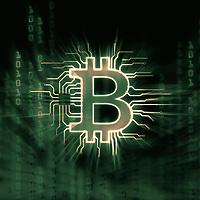 Bitcoin ₿ cryptocurrency, digital decentralized currency symbol, conceptual illustration of a bitcoin connected to a blockchain network in green matrix color scheme