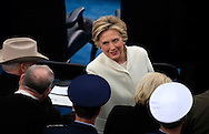 Hillary Clinton talks to Dick Cheney before Donald Trump takes the oath of office for the presidency of the United States on January 20,2017<br /> <br /> Photo by Dennis Brack