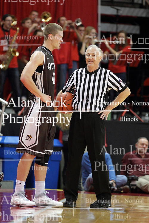 27 November 2015: Evan McGaughey and David Stevens have a sideline chat while waiting for the action to resume. Illinois State Redbirds host the Quincy Hawks at Redbird Arena in Normal Illinois (Photo by Alan Look)