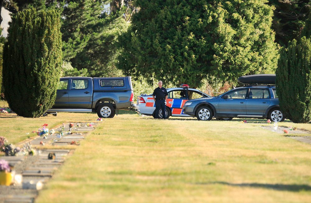 Police operations at the Ruru Lawn Cemetery where they have removed human remains, expected to be those of missing teenager Hayden Miles, Christchurch, New Zealand, Tuesday, December 13, 2011.  Credit:SNPA / Pam Johnson