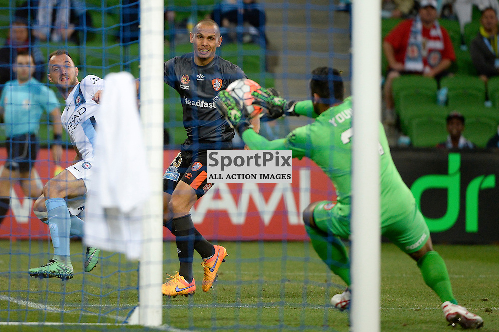 Jamie Young (GK) of Brisbane Roar FC saves the ball from a cross by Ivan Franjic of Melbourne City - Hyundai A-League, March 18th 2016, ROUND 24 - Melbourne City FC v Brisbane Roar FC in a 3:1 win to City after a slow first half at Aami Park, Melbourne Australia. © Mark Avellino | SportPix.org.uk