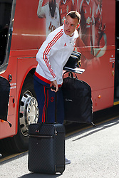 © Licensed to London News Pictures. 20/05/2016. London, UK. Manchester United player PHIL JONES and the team arrive at their hotel in Wembley, London on Friday, 20 May 2016, ahead of the FA Cup final against Crystal Palace in Wembley Stadium. Photo credit: Tolga Akmen/LNP