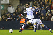 Everton midfielder Andre Gomes (8) battles with Millwall forward Lee Gregory (9) during the The FA Cup fourth round match between Millwall and Everton at The Den, London, England on 26 January 2019.