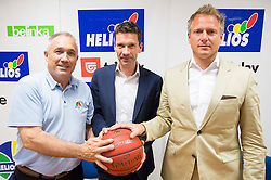 Ladivoj Gorjan, director, Ales Klavzar, CEO of Helios Domzale d.d. and president of club KK Helios Domzale and Gerald Martens, CEO of Ring International Holding AG  during press conference of KK Helios Domzale prior to the new basketball season 2014/15 on June 10, 2014 in Domzale, Slovenia. Photo by Vid Ponikvar / Sportida