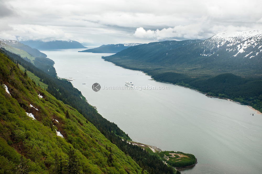 Aerial view of a cruise ship sailing down Gastineau Channel, Juneau, AK.