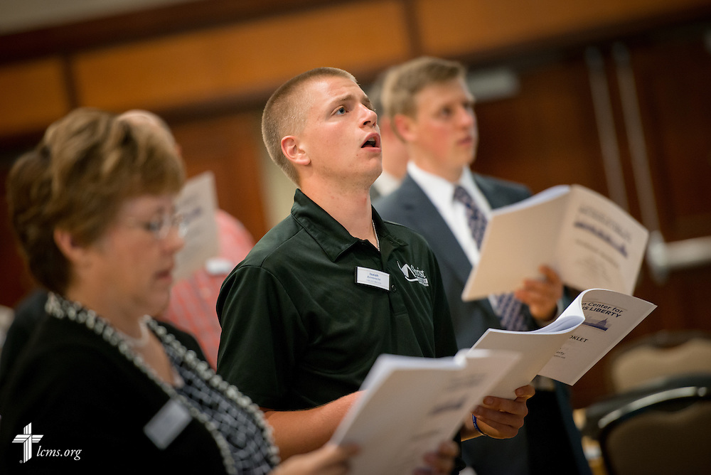 LCMS Young Adult Ambassador Isaiah Armbrecht sings during worship at the Let's Talk Life, Marriage and Religious Liberty event on Tuesday, September 8, 2015, in Washington, D.C. LCMS Communications/Erik M. Lunsford