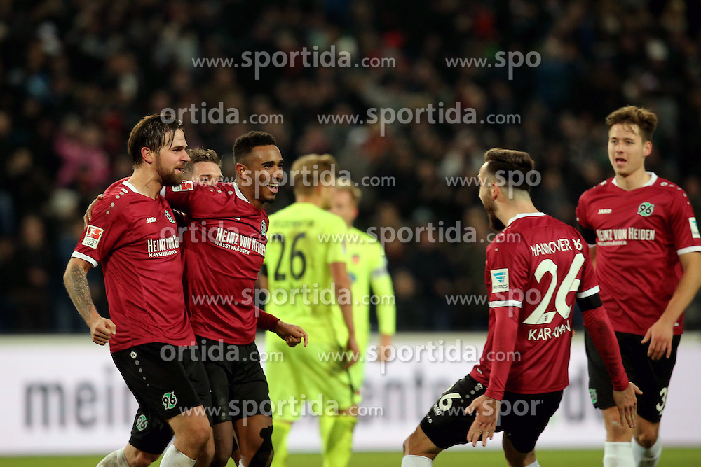 02.12.2016, HDI Arena, Hamburg, GER, 2. FBL, Hannover 96 vs 1. FC Heidenheim, 15. Runde, im Bild Martin Harnik ( Hannover 96 #14 ) Noah Joel Sarenren Bazee ( Hannover 96 #37 ) Kenan Karaman ( Hannover 96 #26 ) Jubel nach dem 3:2 // during the 2nd German Bundesliga 15th round match between Hannover 96 and 1. FC Heidenheim at the HDI Arena in Hamburg, Germany on 2016/12/02. EXPA Pictures &copy; 2016, PhotoCredit: EXPA/ Eibner-Pressefoto/ Langer<br /> <br /> *****ATTENTION - OUT of GER*****