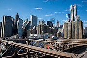 A landscape view from Brooklyn Bridge of the iconic sky scrapers in Lower Manhattan, also known as Downtown Manhattan, which is the financial district and centre for business, culture and government in the city of New York, United States of American.  (photo by Andrew Aitchison / In pictures via Getty Images)