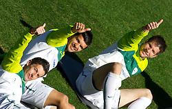 Robert Koren of Slovenia, Aleksander Radosavljevic of Slovenia and Bostjan Cesar of Slovenia during a training session at  Hyde Park High School Stadium on June 14, 2010 in Johannesburg, South Africa.  (Photo by Vid Ponikvar / Sportida)