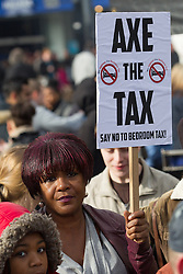 © Licensed to London News Pictures . 16/03/2013 . Manchester , UK . Protesters opposed to changes to housing benefit , known as the Bedroom Tax , hold an impromptu (unsanctioned) march through Manchester City Centre today (16th March) . The government plans to introduce changes to housing benefit from this April which will see some claimants receive a reduced amount if they have excess living space . Photo credit : Joel Goodman/LNP