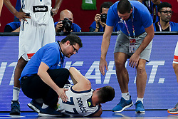 Marko Macura, injured Luka Doncic of Slovenia and Martin Klesnik during the Final basketball match between National Teams  Slovenia and Serbia at Day 18 of the FIBA EuroBasket 2017 at Sinan Erdem Dome in Istanbul, Turkey on September 17, 2017. Photo by Vid Ponikvar / Sportida