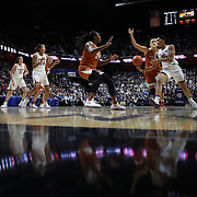 UNCASVILLE, CONNECTICUT- DECEMBER 4: Gabby Williams #15 of the Connecticut Huskies passes for an assist to Napheesa Collier #24 of the Connecticut Huskies  during the UConn Huskies Vs Texas Longhorns, NCAA Women's Basketball game in the Jimmy V Classic on December 4th, 2016 at the Mohegan Sun Arena, Uncasville, Connecticut. (Photo by Tim Clayton/Corbis via Getty Images)