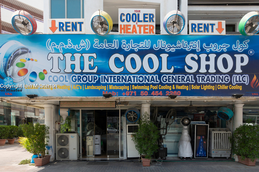 Exterior of shop selling air conditioning equipment particularly for outside use in Dubai , UAE