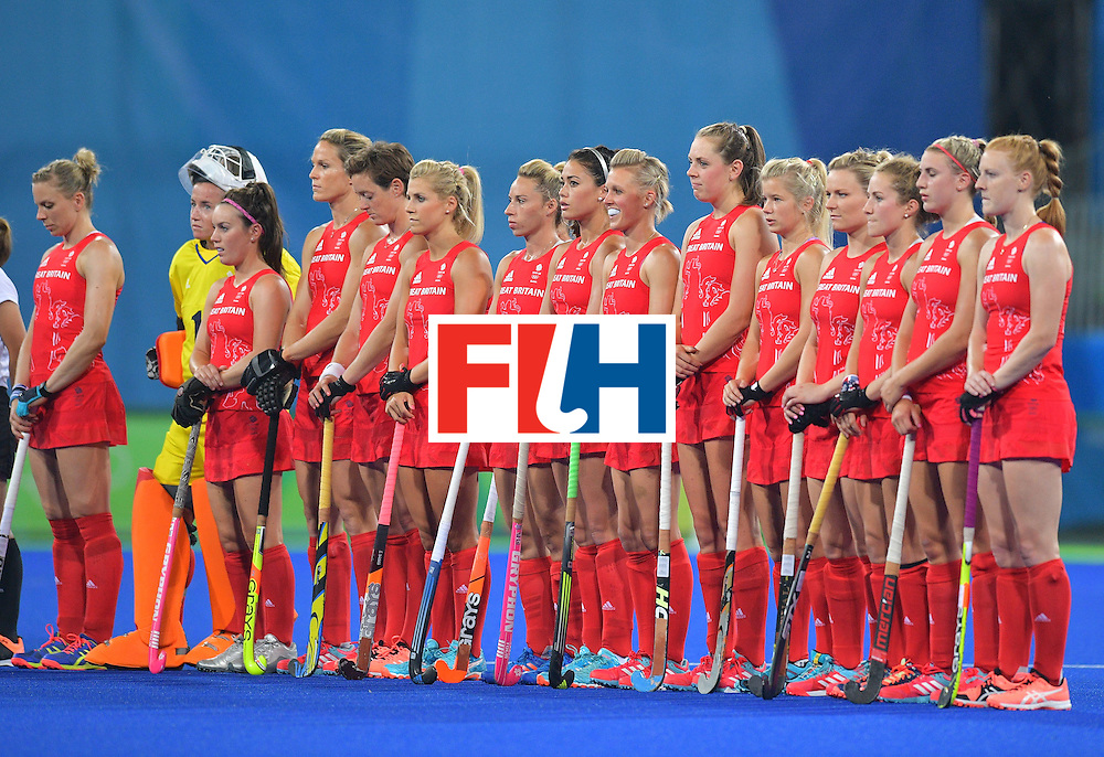 The Britain team lines up before the start of the women's field hockey Britain vs Australia match of the Rio 2016 Olympics Games at the Olympic Hockey Centre in Rio de Janeiro on August, 6 2016. / AFP / Carl DE SOUZA        (Photo credit should read CARL DE SOUZA/AFP/Getty Images)