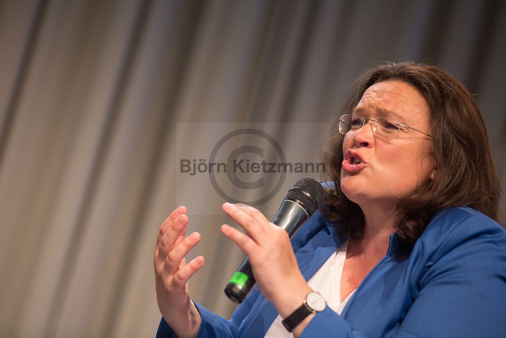 Berlin, Germany - 27.05.2017<br /> <br /> Andrea Maria Nahles, German Federal Minister of Labour and Social Affairs. German Protestant Church Assembly (&quot;Deutscher Evangelischer Kirchentag&rdquo;) in Berlin. <br /> <br /> Andrea Maria Nahles, Bundesarbeits- und Sozialministerin. Deutscher Evangelischer Kirchentag 2017 in Berlin. <br /> <br /> Photo: Bjoern Kietzmann