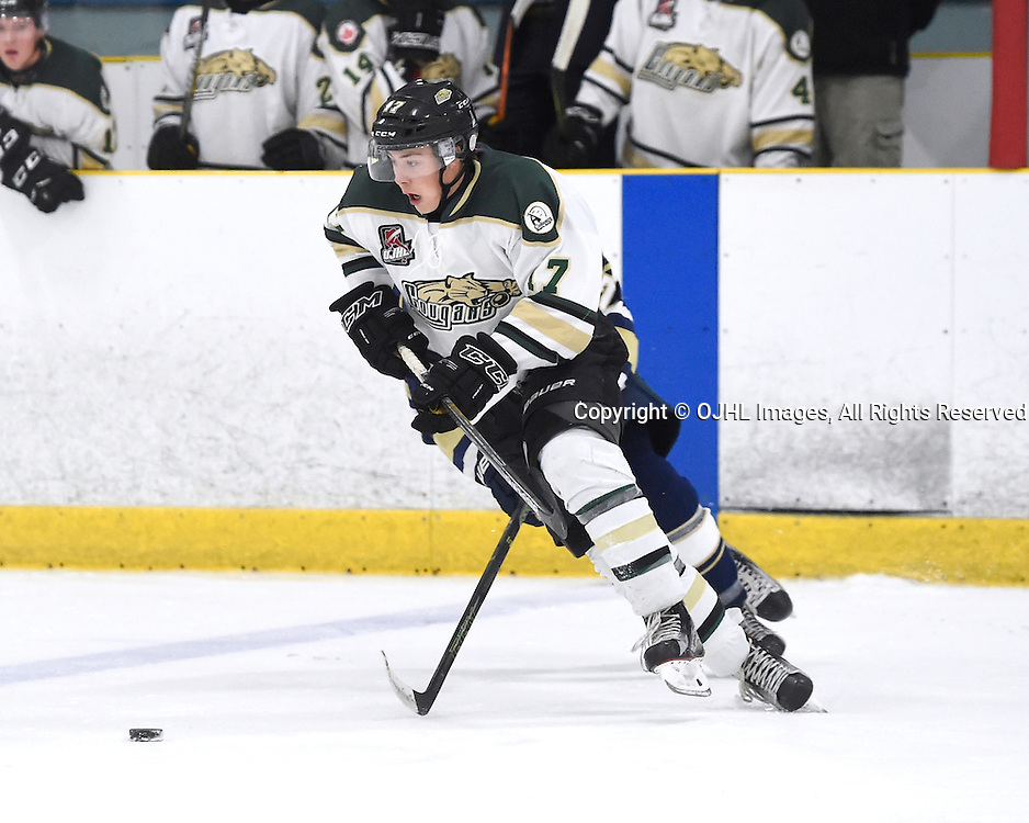 TORONTO, ON - OCT 8,  2016: Ontario Junior Hockey League game between Cobourg and Toronto, Brenden Locke #17 of the Cobourg Cougars skates after the puck during the third period.<br /> (Photo by Andy Corneau / OJHL Images)