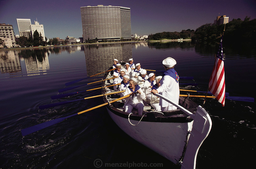 Women's rowing club on Lake Merritt in downtown Oakland, California.