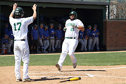 11 April 2015:  Pat Mollo runs home on a hit by Jarrod Juskiewicz and gets a pair of high fives from Gino Cavalieri during an NCAA division 3 College Conference of Illinois and Wisconsin (CCIW) Pay in Baseball game during the Conference Championship series between the Millikin Big Blue and the Illinois Wesleyan Titans at Jack Horenberger Stadium, Bloomington IL