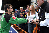 Photo: Ed Godden.<br />Barnet v Stockport County. Coca Cola League 2. 29/04/2006. Barnet keeper Ross Flitney meets the fans at full-time.