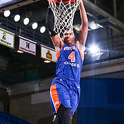 Westchester Knicks Forward ISAIAH HICKS (4) dunks the ball on a fast break in the first half of a NBA G-league regular season basketball game between the Delaware 87ers and the Westchester Knicks (New York Knicks) Tuesday, Nov. 07, 2017, at The Bob Carpenter Sports Convocation Center in Newark, DEL