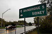 A sign on the outskirts of Sidney, N.Y., where an injunction against a Sufi cemetery was discussed at a Town Hall meeting, Thursday, October 14, 2010.<br /> (AP Photo/Heather Ainsworth)