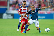 FRISCO, TX - AUGUST 11:  David Ferreira #10 of FC Dallas has the ball stolen by Landon Donovan #10 of the Los Angeles Galaxy on August 11, 2013 at FC Dallas Stadium in Frisco, Texas.  (Photo by Cooper Neill/Getty Images) *** Local Caption *** David Ferreira; Landon Donovan