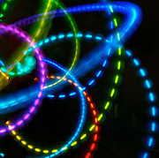 Spinning color Light Bands, Spiraling Lights