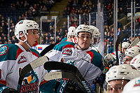 KELOWNA, CANADA - JANUARY 30: Cayde Augustine #5 of the Kelowna Rockets stands at the bench during a time out against the Seattle Thunderbirds on January 30, 2019 at Prospera Place in Kelowna, British Columbia, Canada.  (Photo by Marissa Baecker/Shoot the Breeze)