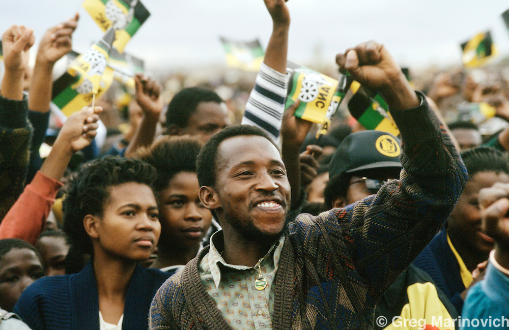 ANC supporters gather to meet Nelson Mandela at a rally in the run up to the 1994 elections.  South Africa