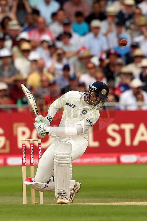 Rahul dravid avoids a delivery from Tim Bresnan during day 2 of the 2nd test between England and India held at Trent Bridge Cricket Ground in Nottingham on the 30th July 2011...Photo by Ron Gaunt/SPORTZPICS/BCCI