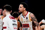 ILCE-9M2 • FE 400mm F2.8 GM OSS<br /> f/3.5 • ISO 2500 • 1/1250<br /> <br /> DayeAustin Esultanza <br /> A|X Armani Exchange Milano - Umana Reyer Venezia <br /> LBA Final Eight 2020 Zurich Connect - Semifinale<br /> Basket Serie A LBA 2019/2020<br /> Pesaro, Italia - 15 February 2020<br /> Foto Mattia Ozbot / CiamilloCastoria