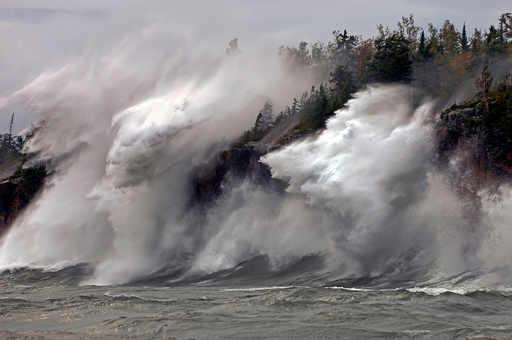 A Fall storm over Lake Superior pounds the shore at Tettegouche along Minnesota's North Shore