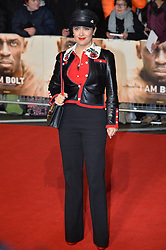 © Licensed to London News Pictures. 28/11/2016. SELMA HAYEK attend's the I Am Bolt world film premiere at the Odeon Leicester Square in London.  Photo credit: Ray Tang/LNP