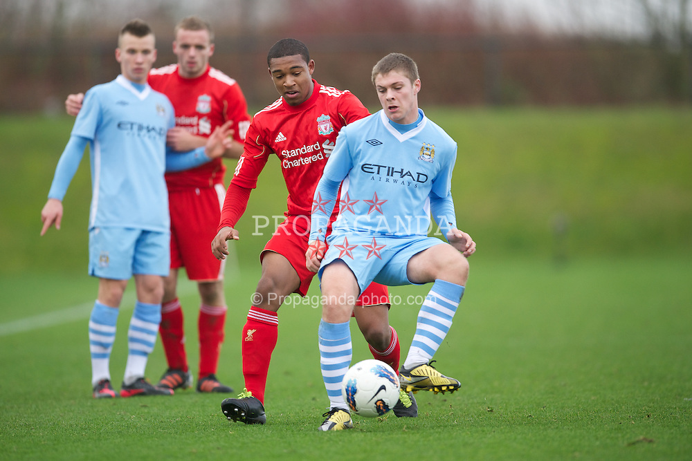 LIVERPOOL, ENGLAND - Saturday, January 21, 2012: Liverpool's Jordan Ibe in action against Manchester City during the FA Premier League Academy match at the Kirkby Academy. (Pic by David Rawcliffe/Propaganda)