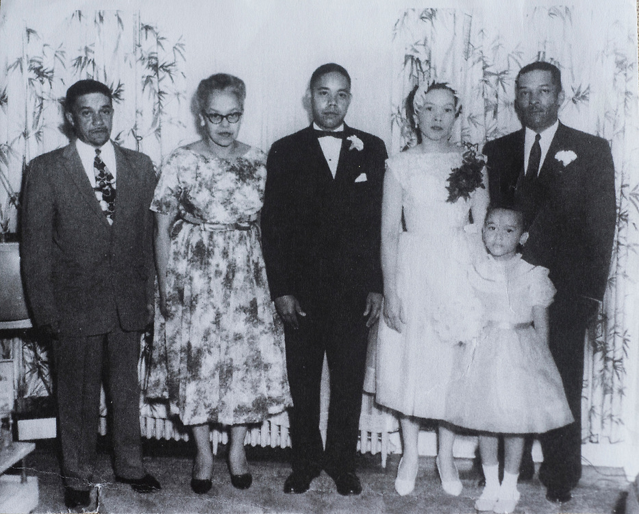George and Helen Smith on their wedding day in 1960. George's parents Theodore and Elizabeth are on the left. One right is Helen's father Francis and daughter Deborah.