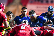 Leinster's Sean O'Brien gets ready to pack down<br /> <br /> Photographer Craig Thomas/Replay Images<br /> <br /> Guinness PRO14 Round 17 - Scarlets v Leinster - Friday 9th March 2018 - Parc Y Scarlets - Llanelli<br /> <br /> World Copyright © Replay Images . All rights reserved. info@replayimages.co.uk - http://replayimages.co.uk