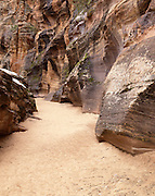 Sandstone Canyon, Canyon, Sandstone, Winter, Ice, Snow, Zion, Zion National Park, Utah